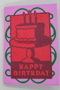Front of the Harlequin Flower Birthday Card