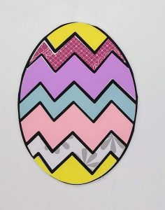 Closeup of Easter Coloring with paper chevron egg