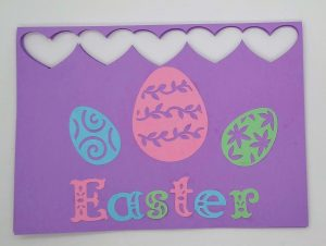 Easter Card front with eggs and lettering