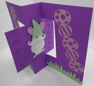Standing Easter Flip card showing the gnome bunny