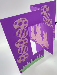 Standing Easter Flip card showing the bunnies
