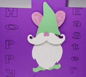 Close up of the gnome bunny on the flipper of the Easter Flip Card