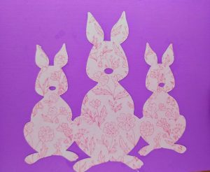 Close up of the bunnies on the flipper of the Easter Flip Card
