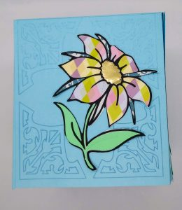 Spring tissue box cover coloring with paper flower side