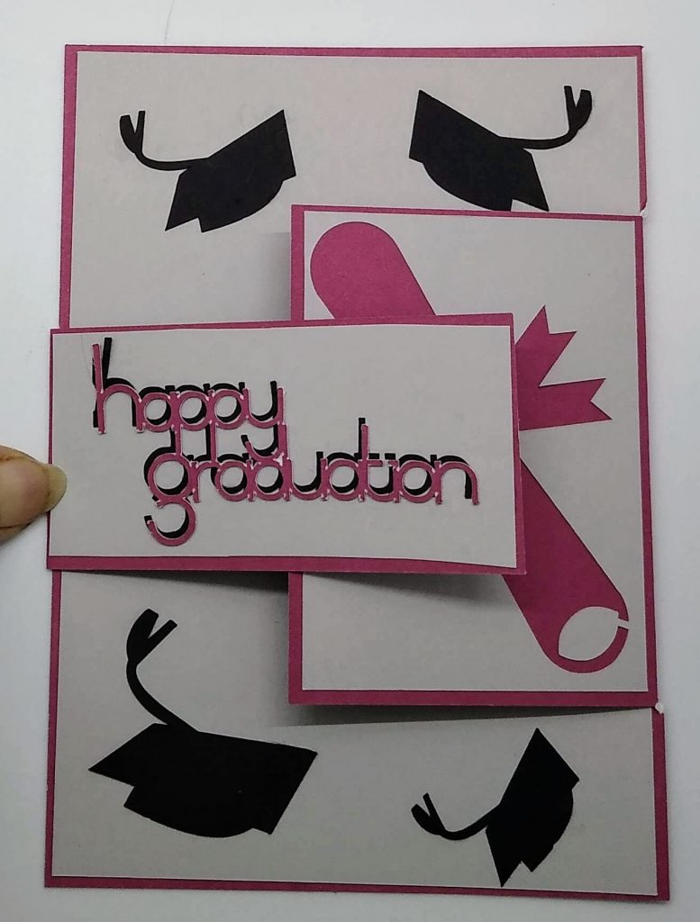 Altered gatefold graduation card in red and grey for Troy