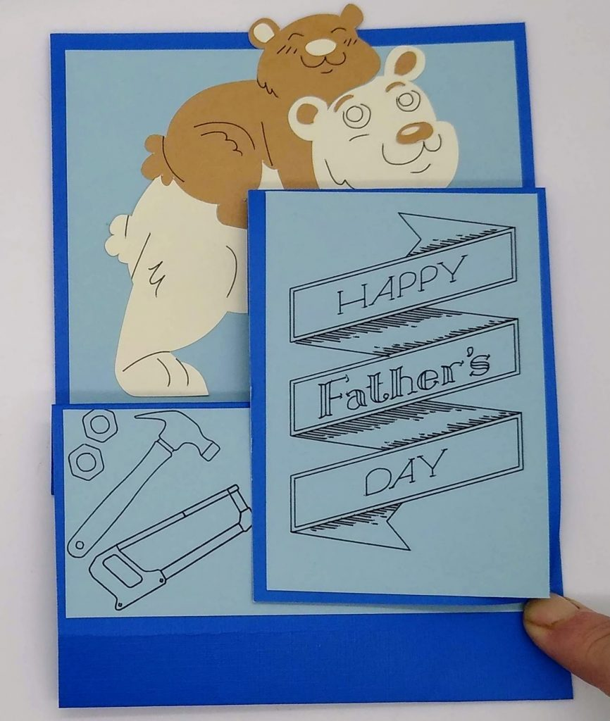 Papa Bear card for Father's Day closed up for mailing