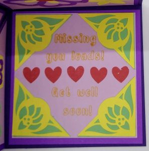 Message Panel of Get well Triangle Pop Out Card