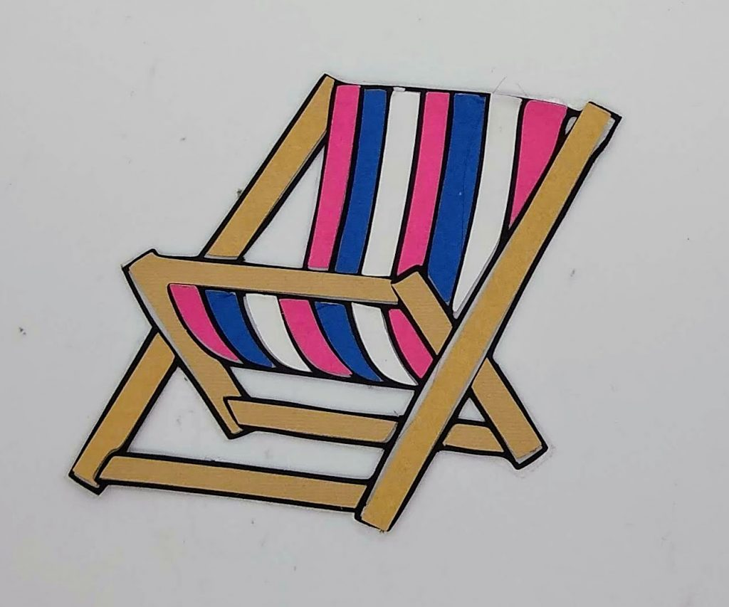 beach coloring with paper chair