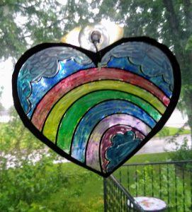 Pride Rainbow Sun Catcher Heart