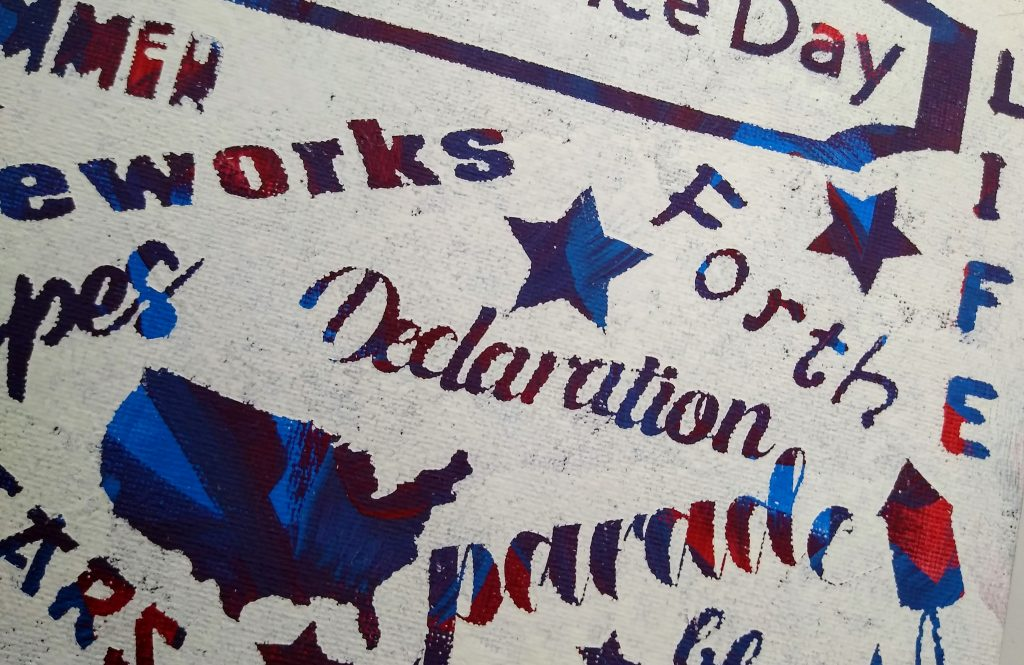 4th of July Messy Canvas close up