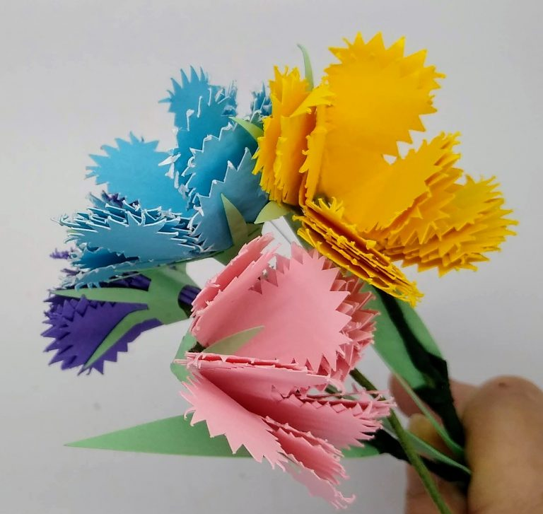 cardstock paper carnation flowers in various colors