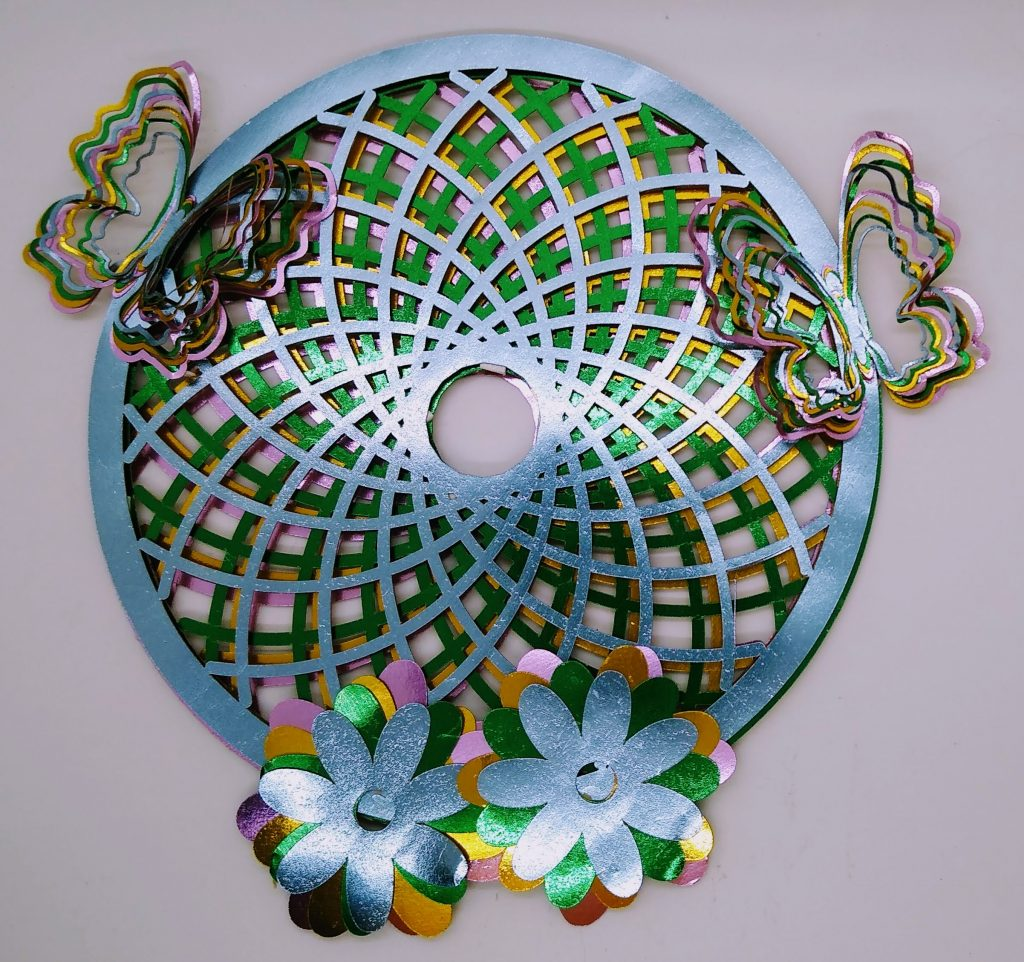 Butterfly dream catcher made with metallic papers