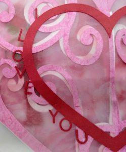 Gatefold I Love You heart circle card circle close up