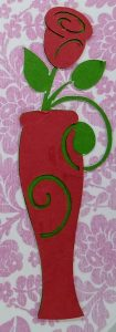 Gatefold I Love You heart circle card Rose vase colse up