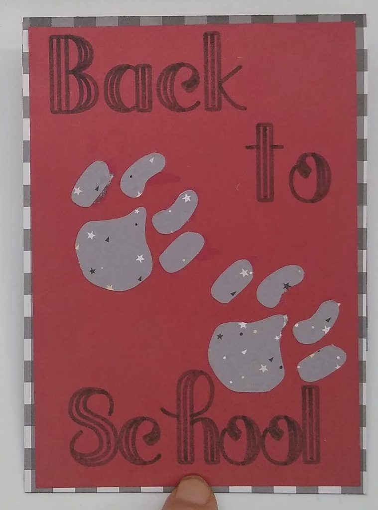 Front of Back to school Pop Out card