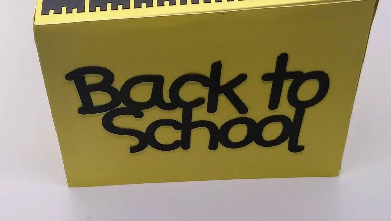 the other end Back to School Tissue Box Cover in yellow and black