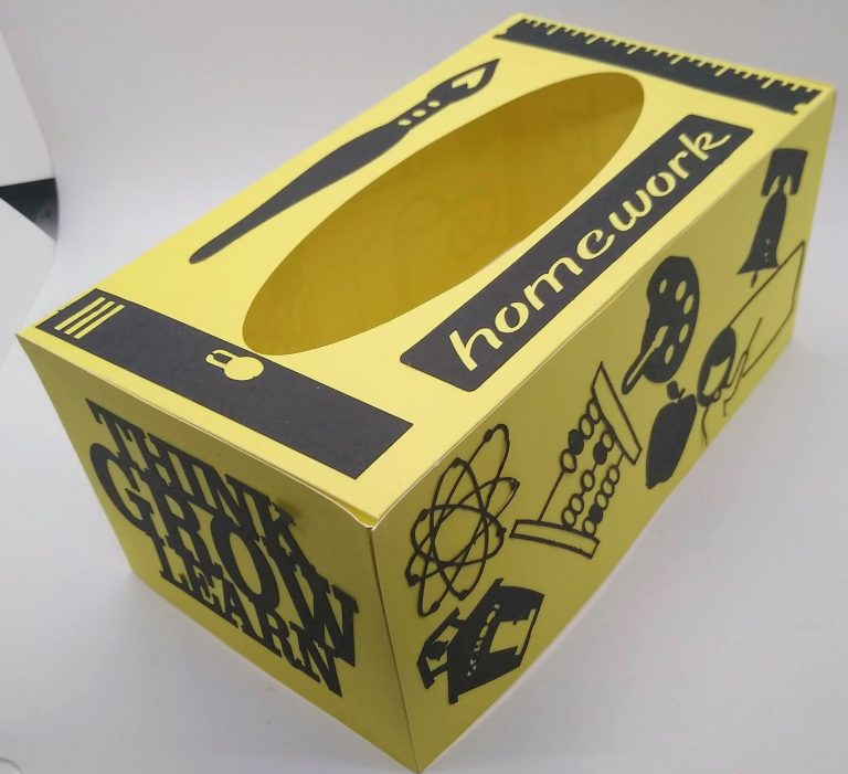 Back to School Tissue Box Cover in yellow and black