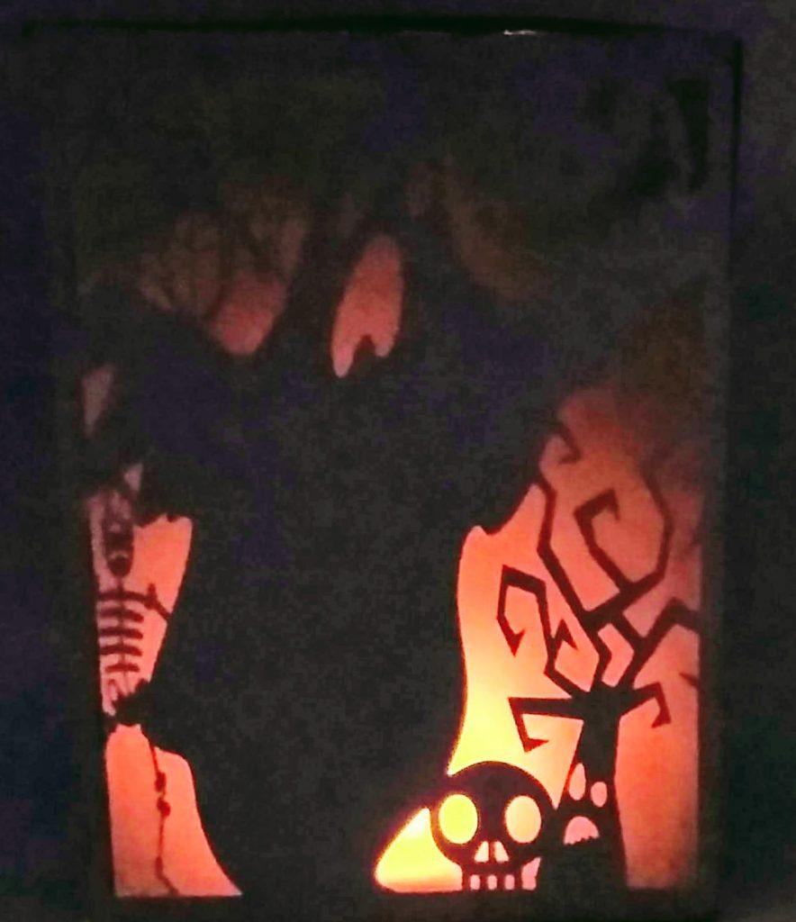 Scary Halloween Luminary Lit up