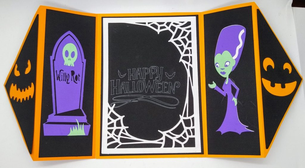 halloween gatefold card open