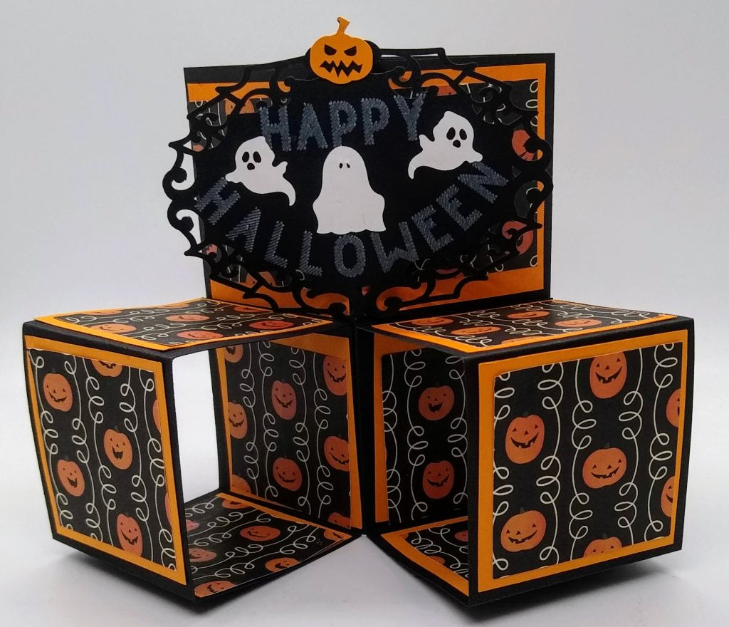 Pop Out Cube Halloween Card standing up