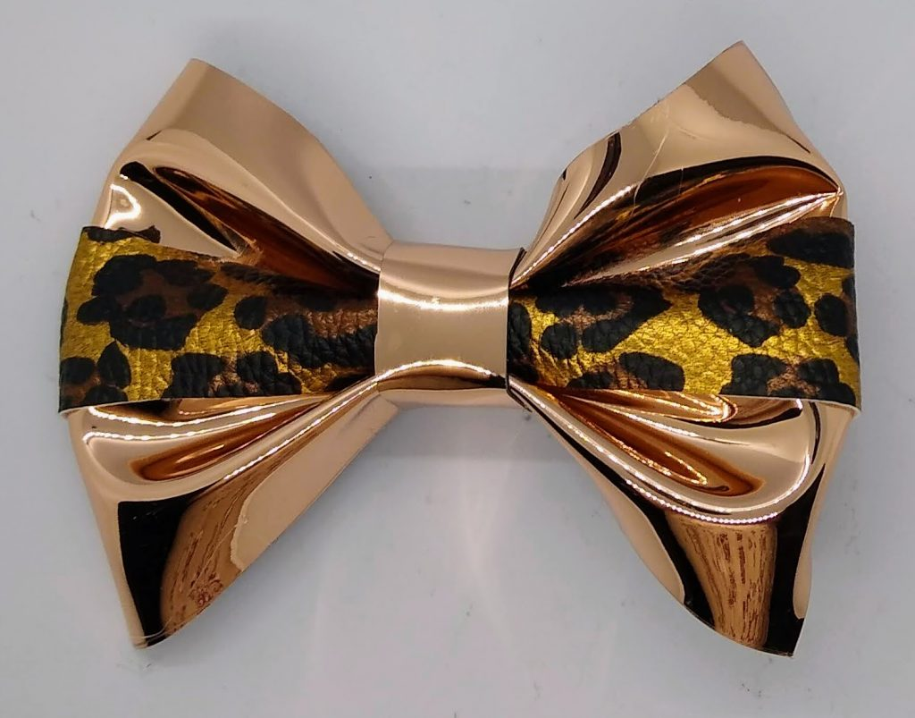 Hair ribbon made with 2 types of Faux Suede Ribbon