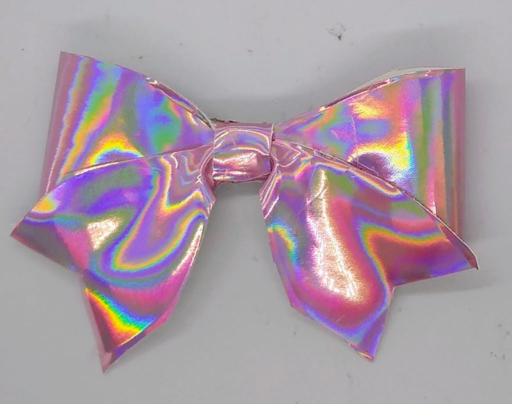 Hair ribbon made with Iridescent Faux Suede Ribbon