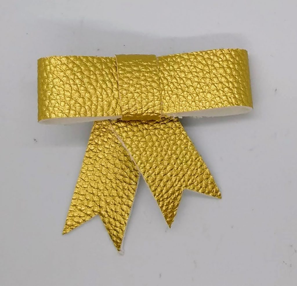 Small Hair ribbon made with gold metallic Faux Suede Ribbon