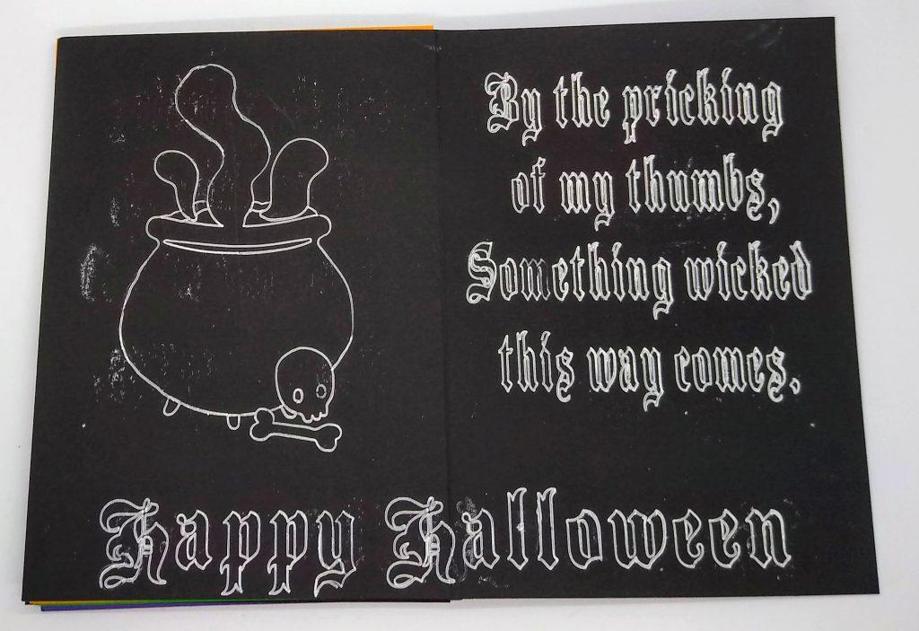 Halloween Something Wicked card inside