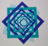 Front of geometry birthday card in blue