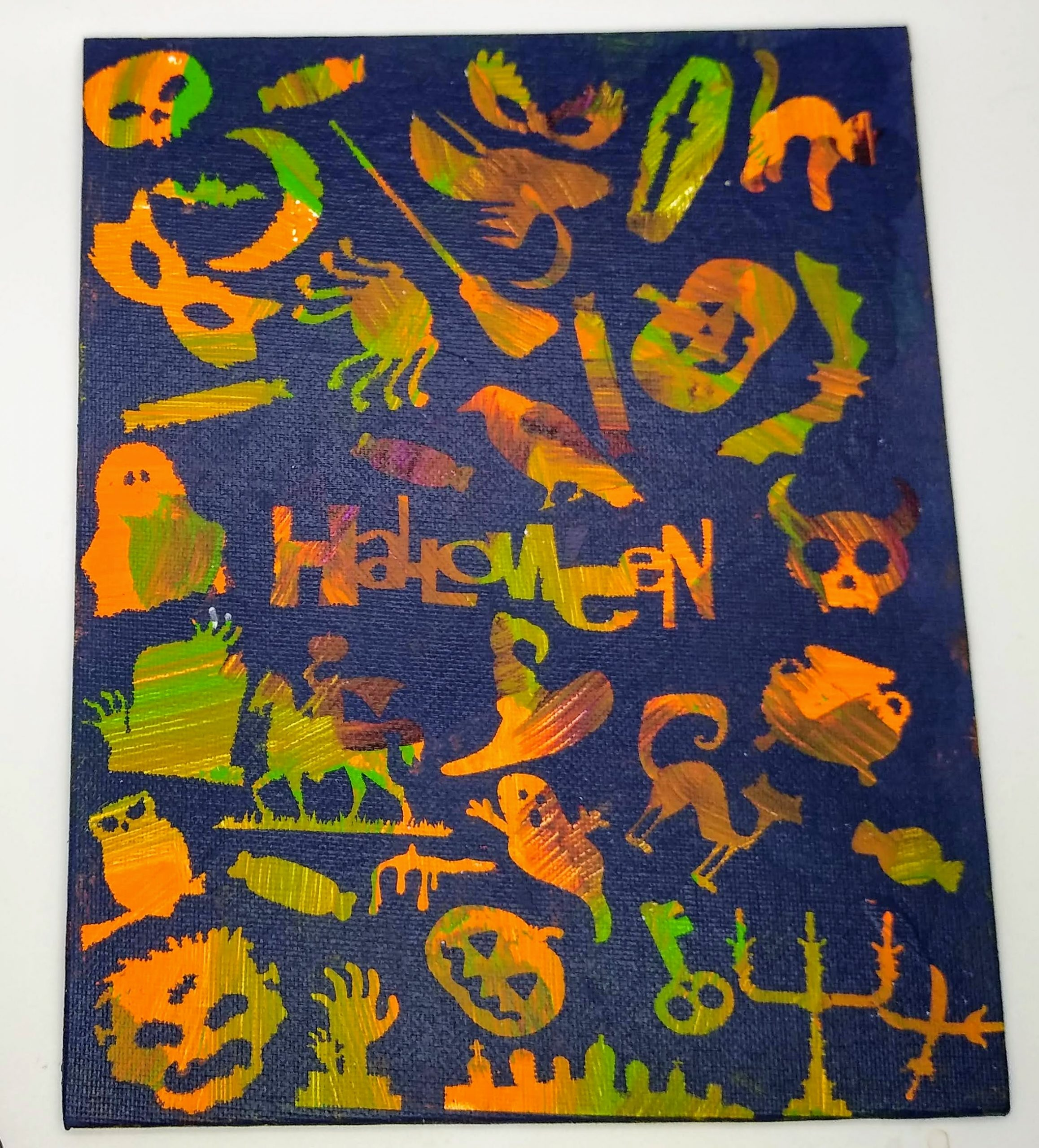 Make This Halloween Picture Messy Canvas