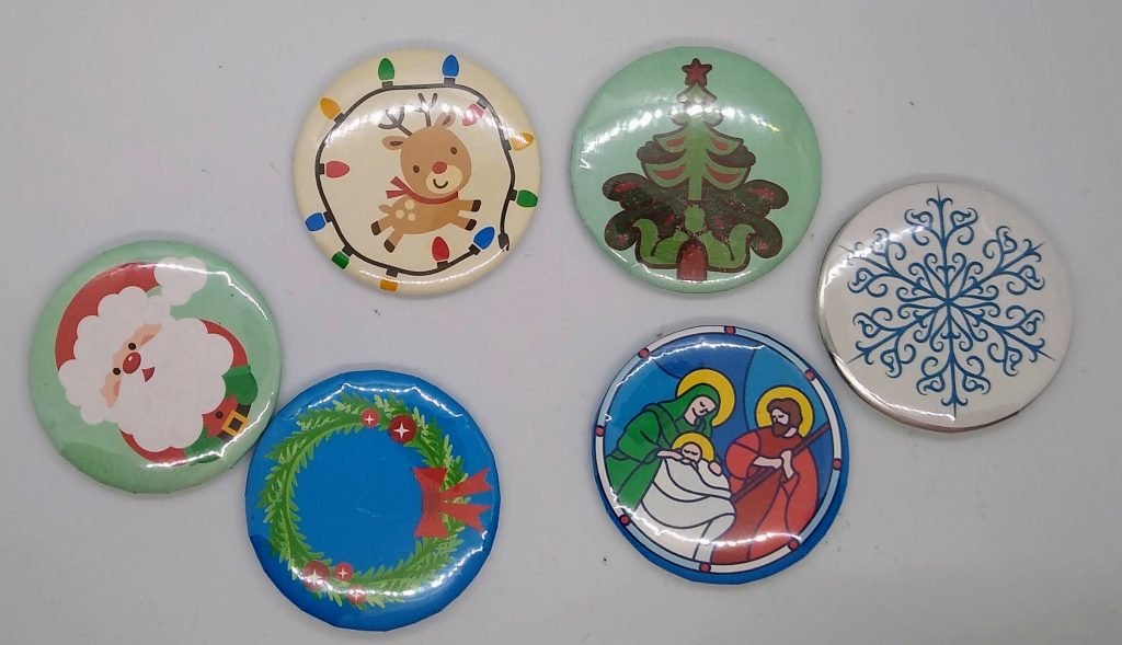 Make buttons or stickers. These are Christmas Designs