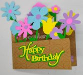 Flower basket birthday card with lots of flowers