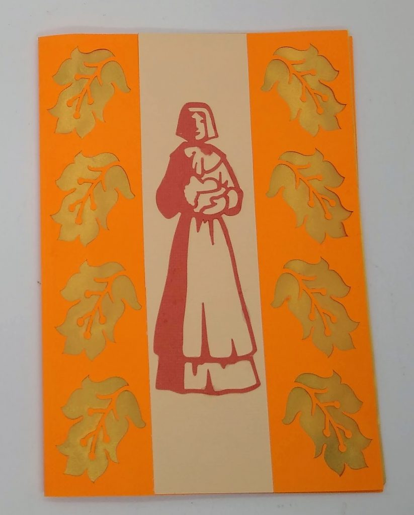 Pilgrim Thanksgiving Cut out Card front