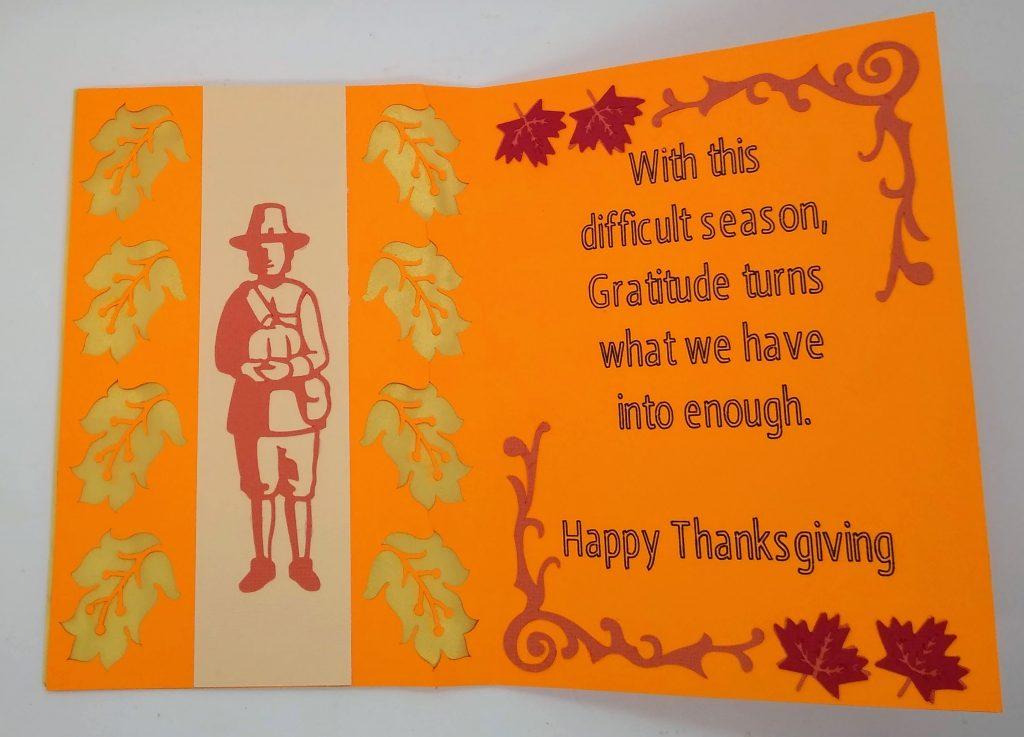 Pilgrim Thanksgiving Cut out Card open