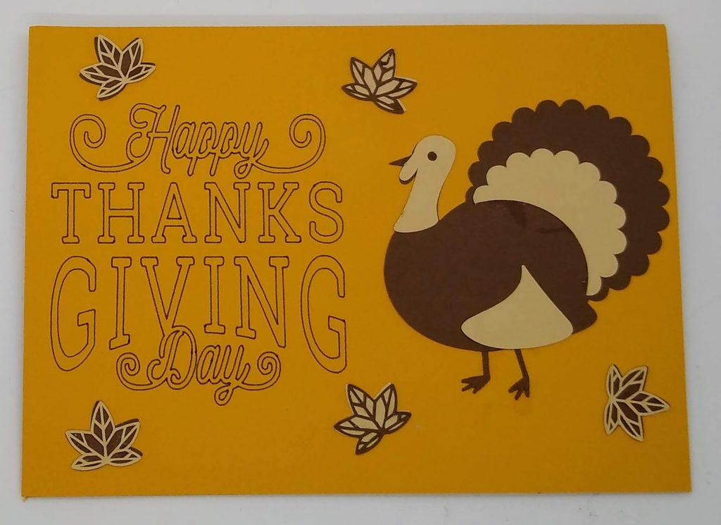 Thanksgiving Swirl Card front with turkey