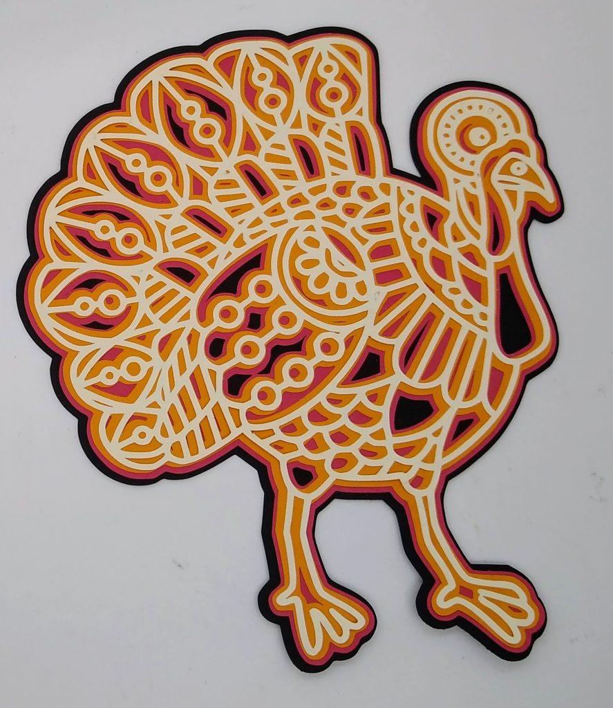 layered mandala turkey in fall colors