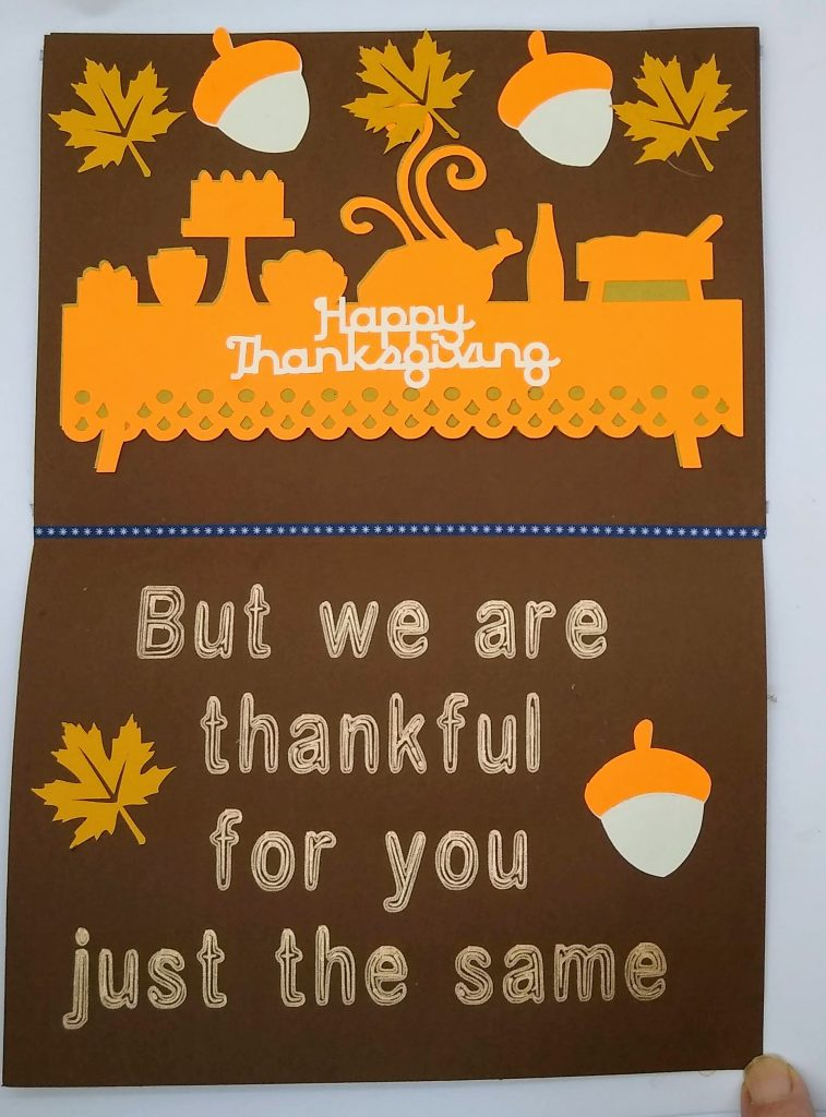 Inside of Thanksgiving Gnome Card