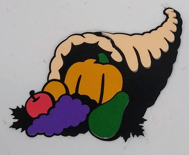 Thanksgiving Coloring with Paper cornucopia