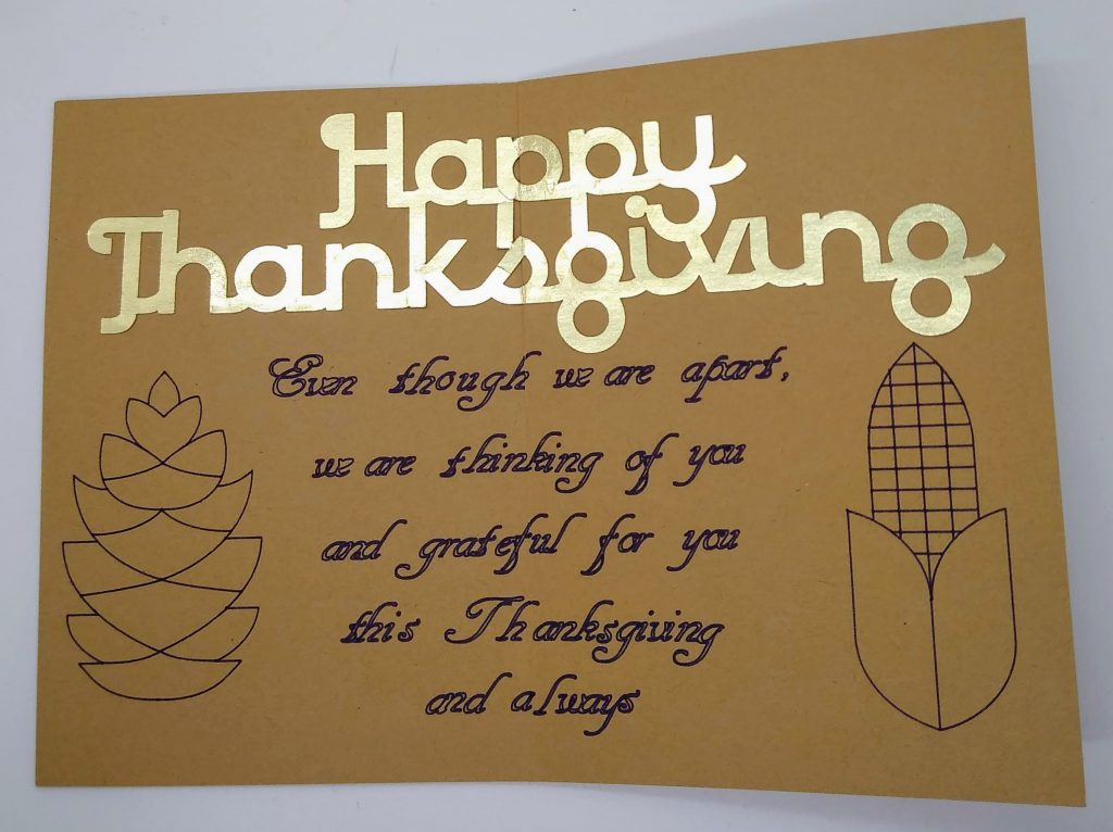 Inside the Thanksgiving Apart card