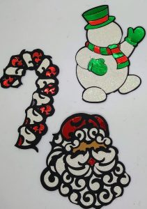 All three Christmas coloring with paper