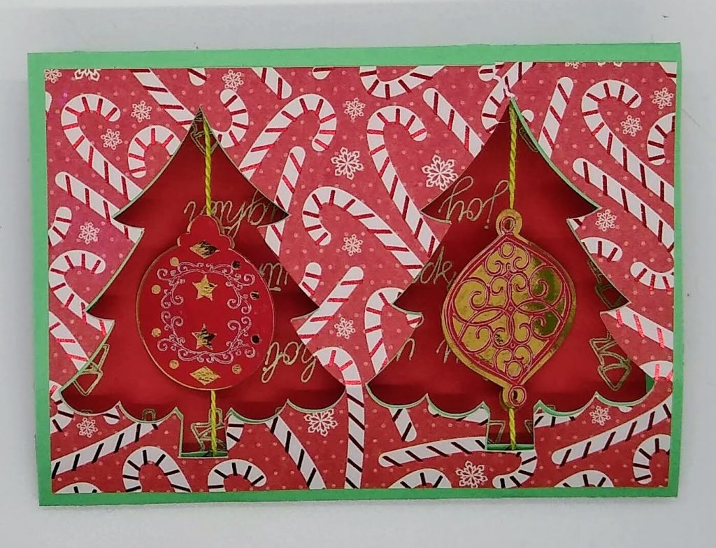 Front of the double twirl ornament card