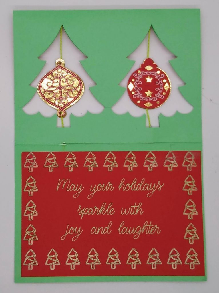 inside of the double ornament twirl card laying flat