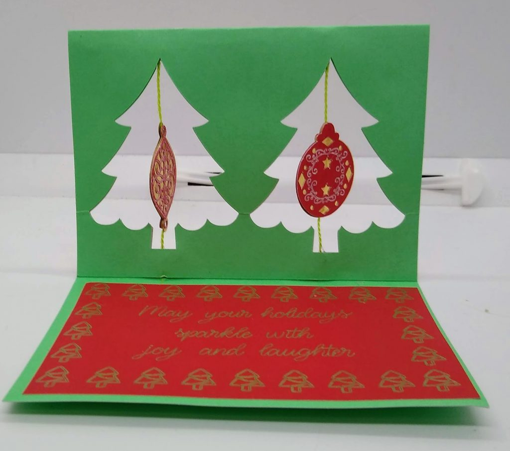 Double twirl ornament card sitting up