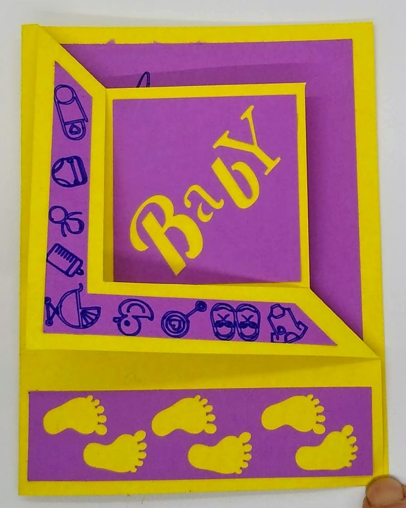 Baby Corner fold card in yellow and purple - front