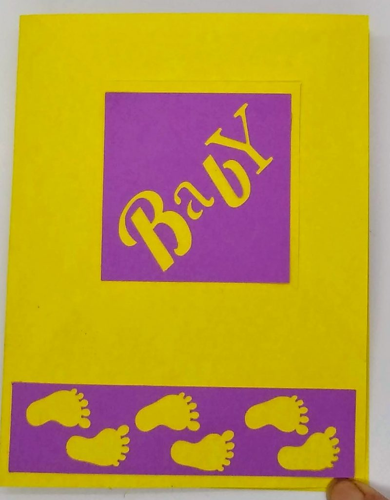 """Baby Corner fold card in yellow and purple - with corner """"up"""""""