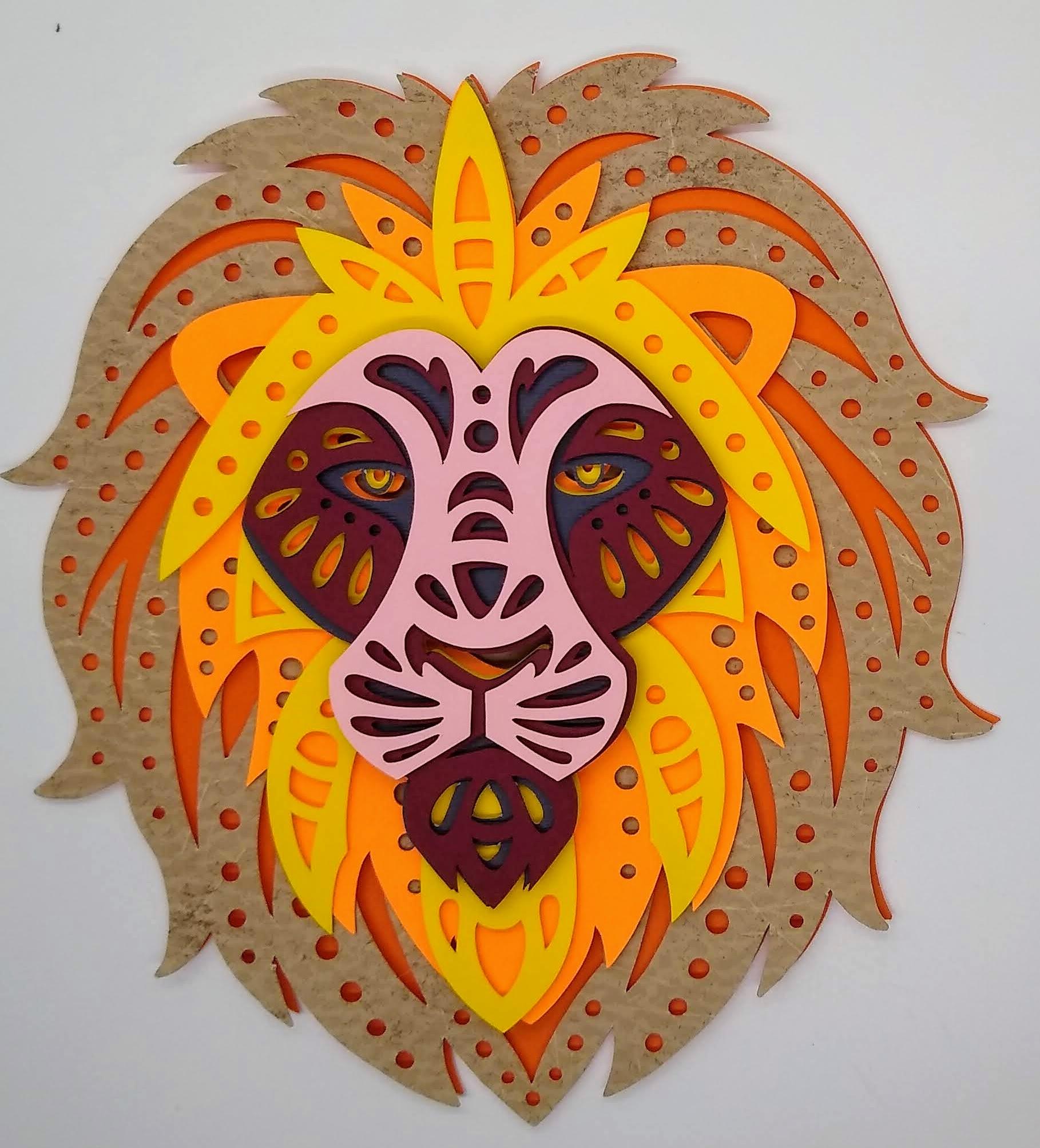 Beautiful Lion Layered Mandala