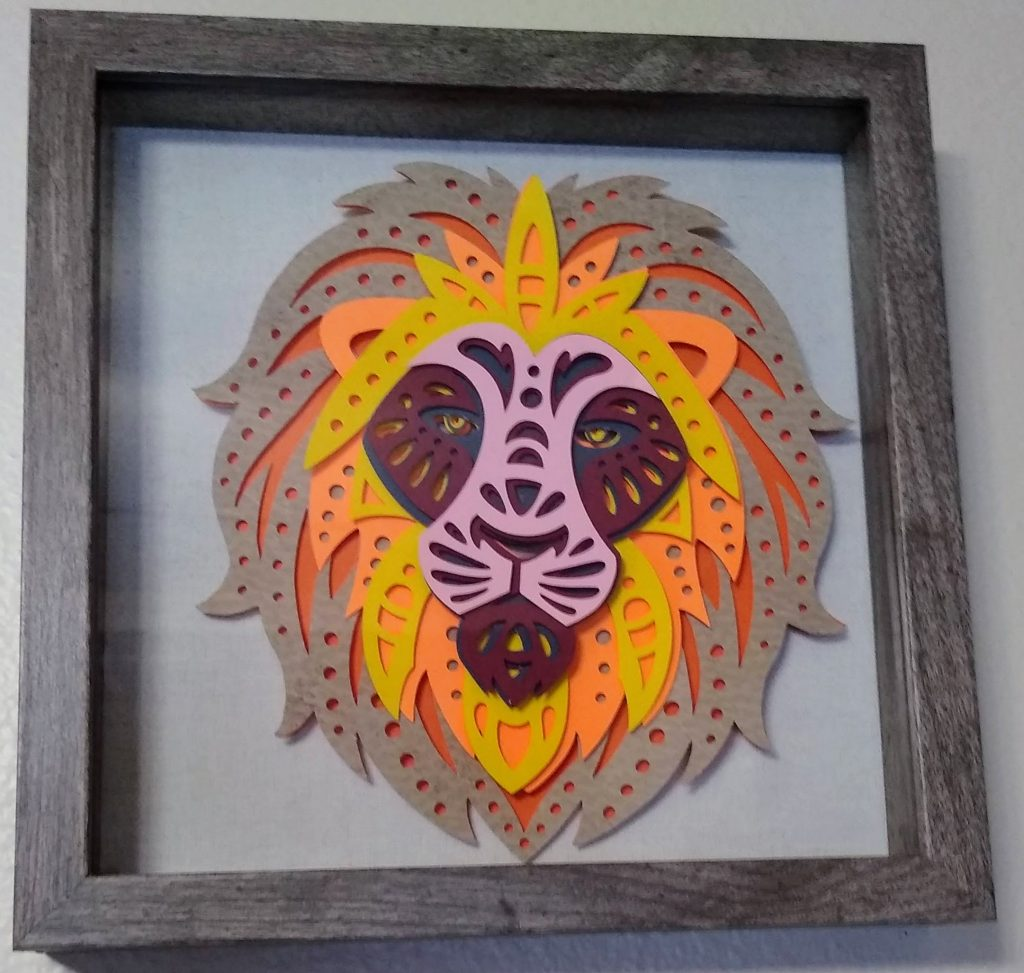 Lion Layered Mandala in a frame
