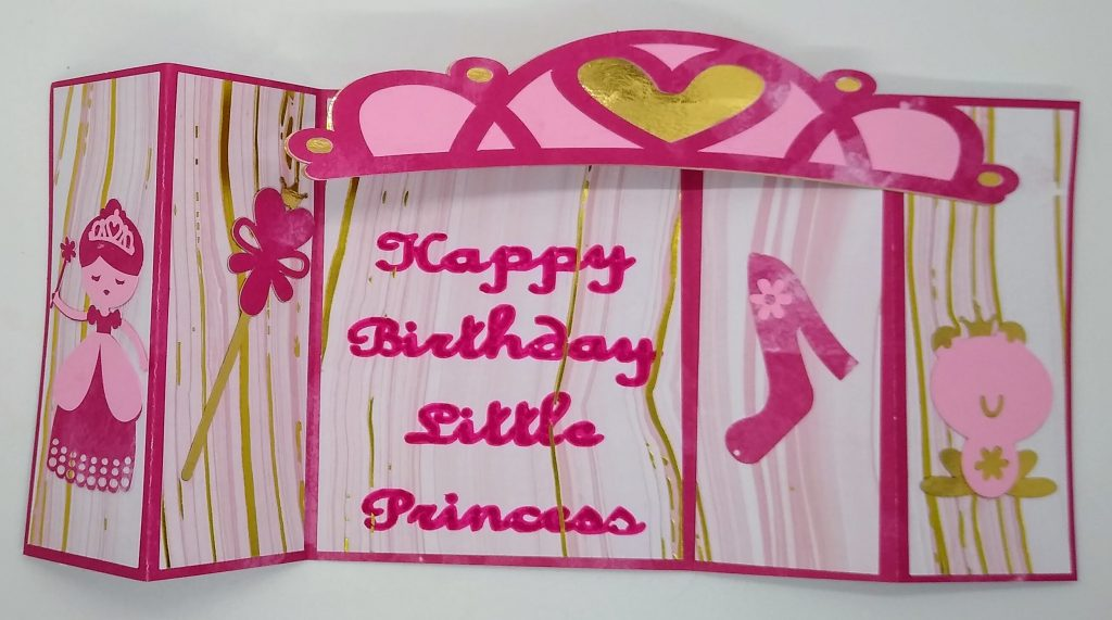 Princess Birthday Bridge Card for girls flat and spread out
