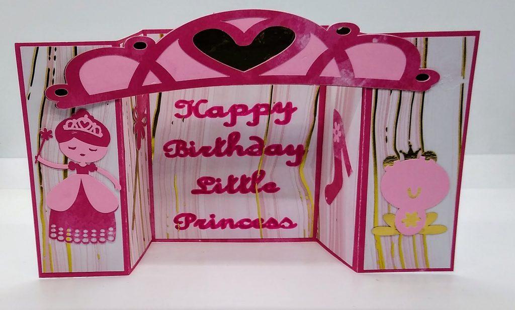 Princess Birthday Bridge Card for girls all set up