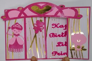 Princess Bridge Birthday Card for girls folded to fit in an envelope
